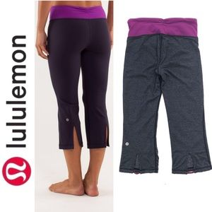 Lululemon Gray Purple Gather & Crow Crop Leggings